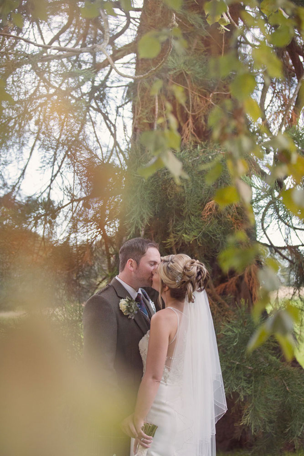 Ardoe House Hotel wedding, bride and groom around the trees, Anna Wytrazek Photography, wedding photographer Aberdeen