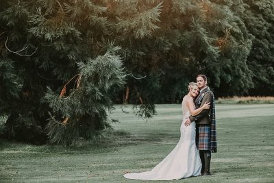 Ardoe House Hotel wedding, bride and groom in the forest, Wedding photographer Aberdeen
