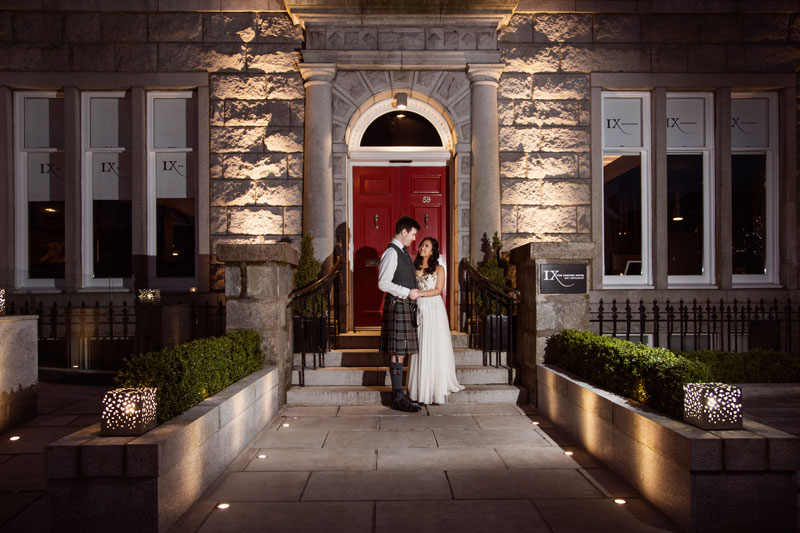 Chester Hotel Wedding, Couple at the front of Chester hotel, Anna Wytrazek Photography, Wedding Photographer Aberdeen