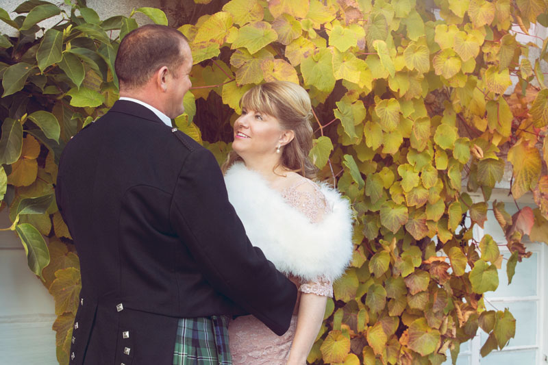 Thainstone House Hotel Wedding, Bride and Groom looking at each other, Anna Wytrazek Photography, Wedding Photographer Aberdeen