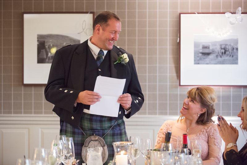 Thainstone House Hotel Wedding, groom's speech, Anna Wytrazek Photography, Wedding Photographer Aberdeen