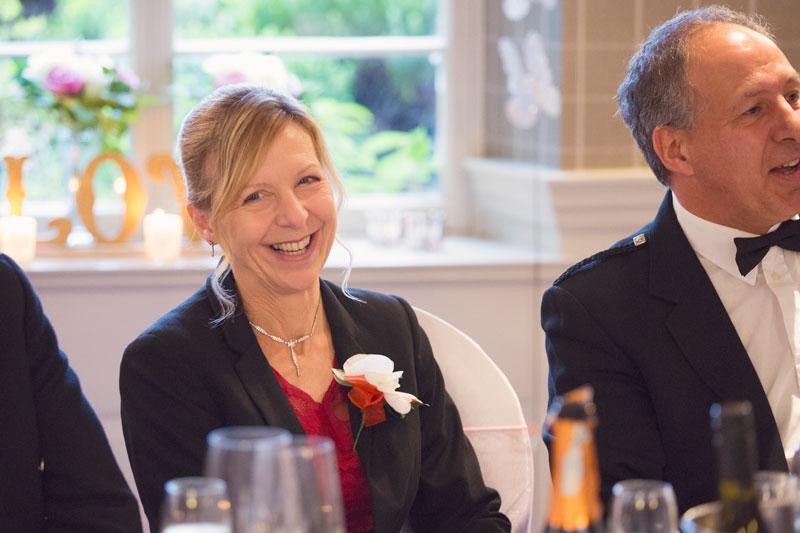 Thainstone House Hotel Wedding, wedding guest laughing, Anna Wytrazek Photography, Wedding Photographer Aberdeen