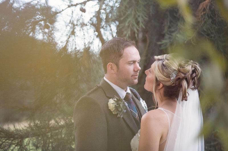 Ardoe House Hotel Wedding, bride and groom looking at each other, Anna Wytrazek Photography, Wedding photographer Aberdeen