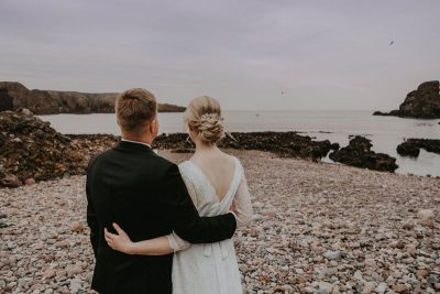 Dunnottar Castle Wedding, Scottish Elopement, beach view, Anna Wytrazek Photography, Wedding Photographer Aberdeen