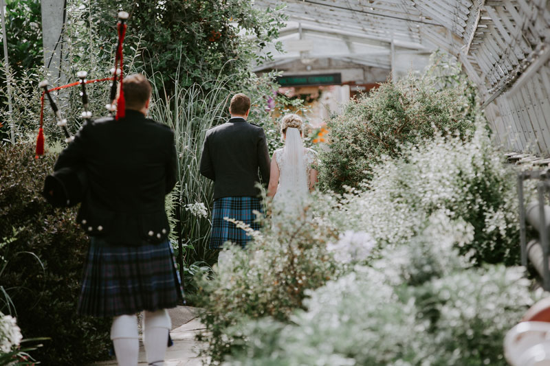 Duthie Park Winter Gardens Wedding, Bride and Father walking, Anna Wytrazek Photography, Wedding Photographer Aberdeen