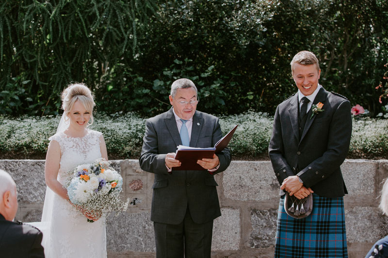 Duthie Park Winter Gardens Wedding, Bride and groom smiling, Anna Wytrazek Photography, Wedding Photographer Aberdeen