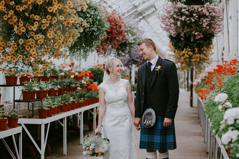Duthie Park Winter Gardens Wedding, bride and groom walking, Anna Wytrazek Photography, Wedding Photographer Aberdeen