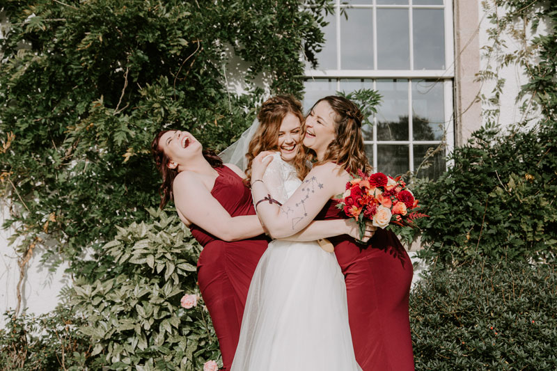 Logie Country House Wedding, Bride and Bridesmaids fun, Anna Wytrazek Photography, Wedding Photographer Aberdeen