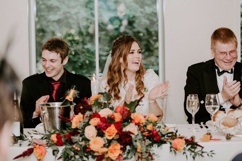 Logie Country House Wedding, Bride and groom clapping, Anna Wytrazek Photography, Wedding Photographer Aberdeen