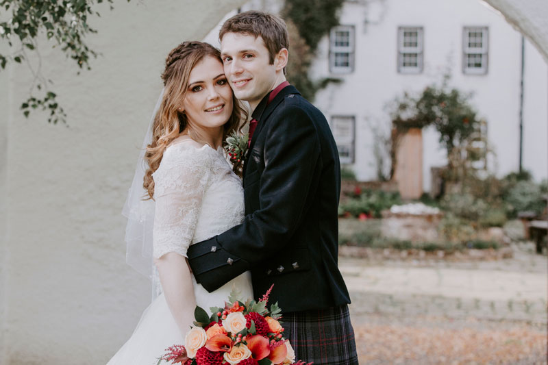 Logie Country House Wedding, Couple looking in to the camera, Anna Wytrazek Photography, Wedding Photographer Aberdeen