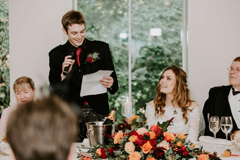 Logie Country House Wedding, Groom's speech, Anna Wytrazek Photography, Wedding Photographer Aberdeen