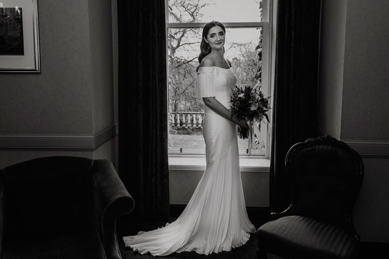 The Marcliffe Hotel wedding Anna Wytrazek Photography Wedding Photographer Edinburgh black and white portrait